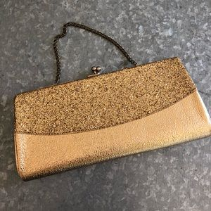 Handbags - Gold Clutch with bling!